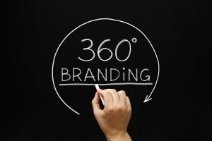 Hand sketching 360 degrees Branding concept with white chalk on a blackboard.